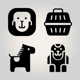 Animals vector icon set. ape, animal carrier and horse