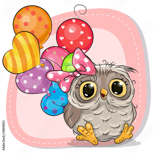 Cute Cartoon Owl girl with balloons
