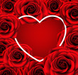 Valentines Day empty template design. Vector background with red roses and heart shape