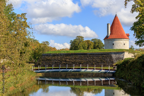 Keuken foto achterwand Noord Europa Convent Building, Kuressaare castle against a blue sky with clouds, Saaremaa island, Estonia