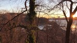 Hudson River through trees in winter in the Bronx - 188417913