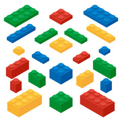 Set of colorful building blocks of a children's designer in the