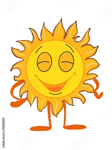 cute sun smiling and happy illustration drawing cartoon and white background