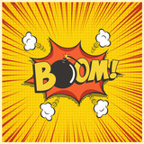 Boom comic text speech bubble with bomb. Vector isolated sound effect puff cloud iconon yellow background. - 188430798