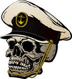 The human skull in captain's cap. - 188432703