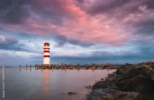 Lighthouse with Beautiful Pink Sky in Podersdorf at Neusiedl Lake, Austria Poster