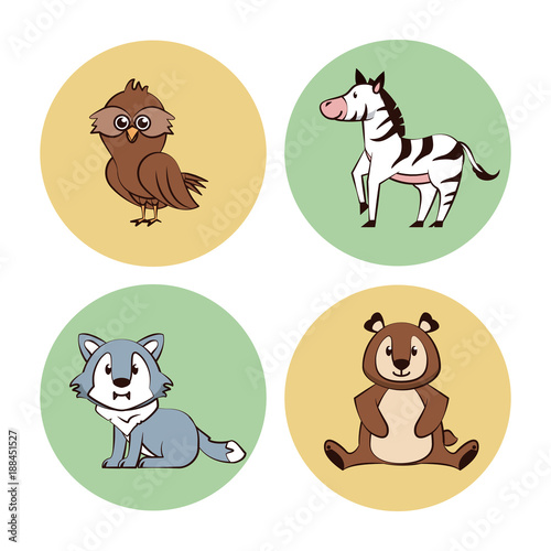Cute animals cartoon round icons icon vector illustration graphic design