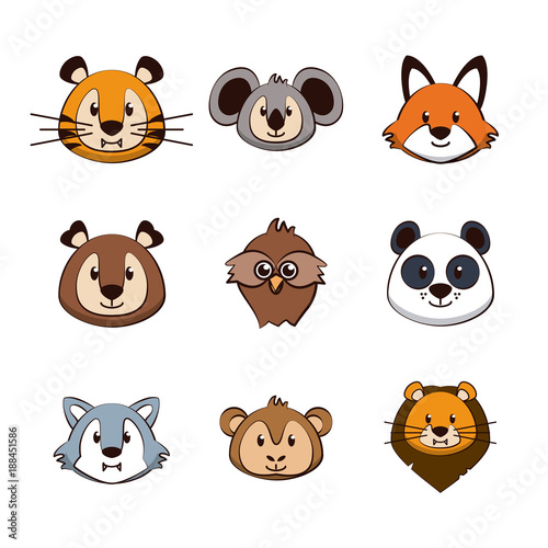 Cute animals cartoons icons icon vector illustration graphic design - 188451586