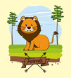 Lion in forest cute cartoon icon vector illustration graphic design