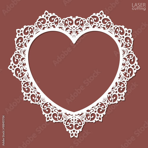 Laser Cut Heart Shaped Frame Photo Frame Template With An