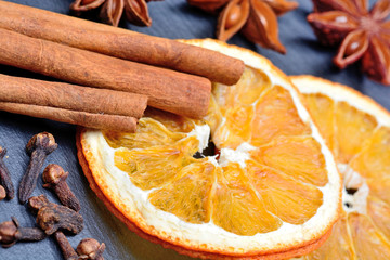 Cinnamon sticks with dried oranges fruit and star anise