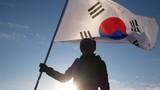 A woman waving the flag of South Korea - 188454397