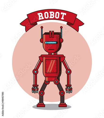 Robot funny cartoon icon vector illustration graphic design - 188457180