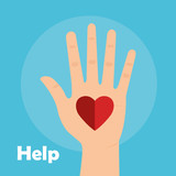hand with heart help vector illustration design - 188459755