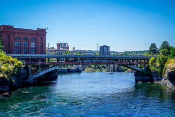 The stunning Riverfront Park in Spokane Washington shows off the sparkling waters of the Spokane River.