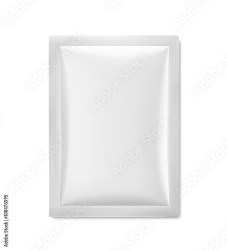 Universal mockup of white blank sachet. Vector illustration isolated on white background, ready and simple to use for your design. The mock-up will make the presentation look realistic possible.