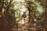 Trekking alone in a forest