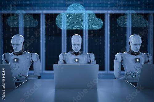 Foto Murales circuit cloud with robot