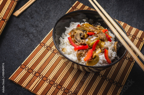 Foto Murales Asian rice with beef