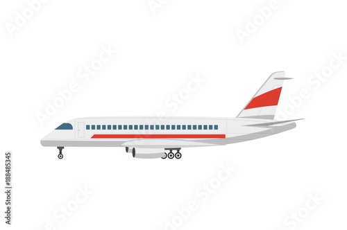 Fototapeta Side view jet airplane isolated vector icon. Passenger aircraft, aviation terminal logistics, commercial airline vector illustration.