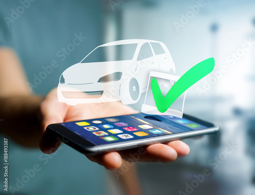 View of a Verified car ready to go on a futuristic interface - transportation and travel concept - 188493387