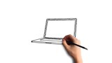 Whiteboard Stop-Motion Style Animation Hand drawing a laptop - 188495162