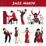 Jazz music band musicians and singers performer people vector icons playing musical instruments