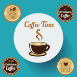 Coffee Time Stamp Set and a Cup of Coffee Icon. Vector, illustration eps10