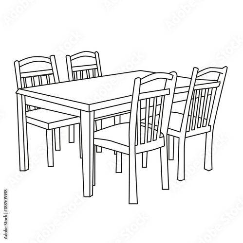 sketch dining table with chairs