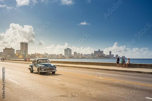 Tuinposter Havana Classic car on the Malecon in Havana, Cuba