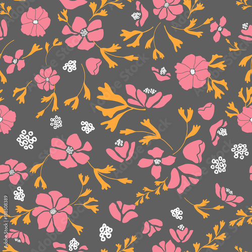 Anemone or windflower poppies flowers and leaves. Floral vector seamless pattern with hand drawn. - 188508389