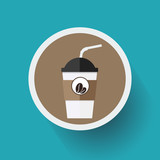 Flat Design Coffee and Frappe Paper Cup Icon. Vector, illustration eps10