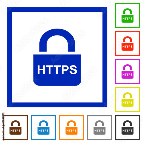Secure https protocol flat framed icons | Buy Photos | AP Images ...