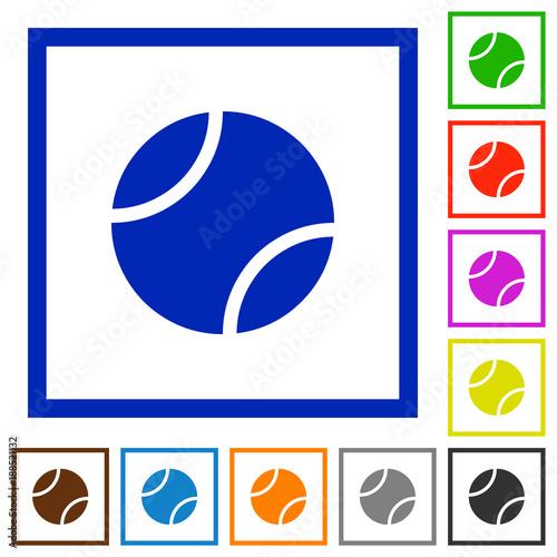 Fototapeta Tennis ball flat framed icons