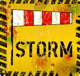 storm warning sign, grungy style vector illustration
