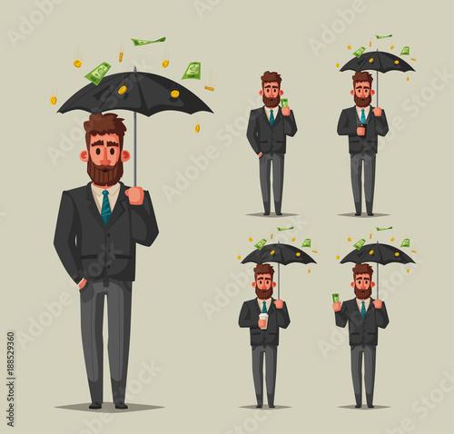 Successful, happy businessman in a suit with umbrella. Cartoon vector illustration