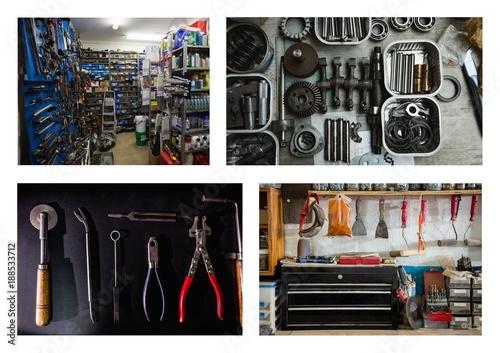 repair tools and workshop collage