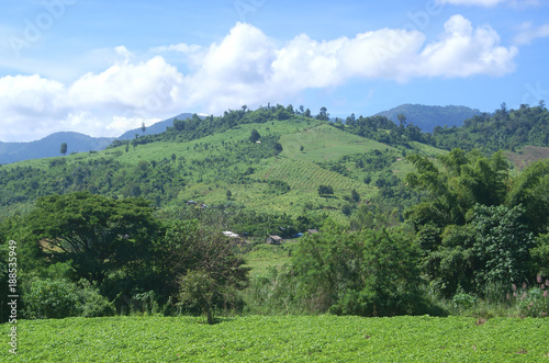 Fotobehang Pistache landscape, mountain, nature, green, sky, grass, mountains, meadow, hill, summer, clouds, blue, forest, field, valley, countryside, tree, view, trees, panorama, rural, cloud, country, hills, europe