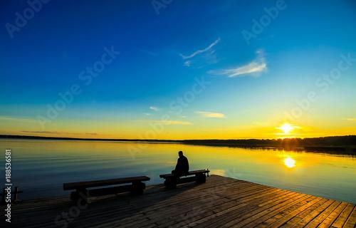 Sunset lake pier silhouette landscape - 188536581
