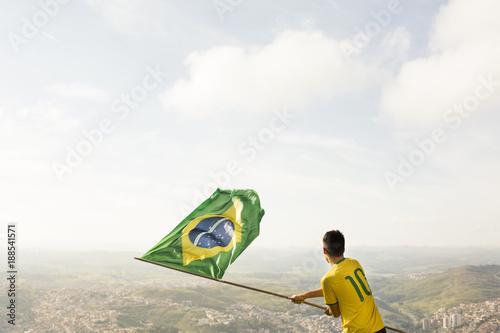 Papiers peints Rio de Janeiro fan with brazilian flag
