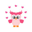 cartoon cute owl with lovely heart
