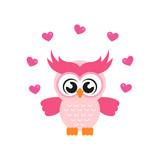 cartoon cute owl with lovely heart