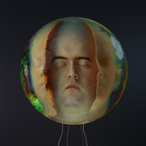 human head in the glass sphere