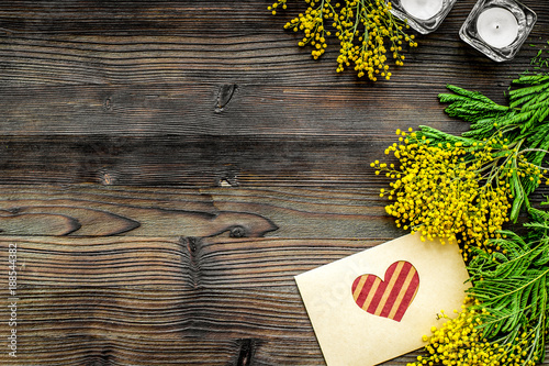 concept International Women Day with flowers wooden background t - 188544382