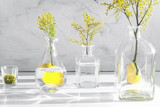 mimosa in glass vase on table close up - 188544943