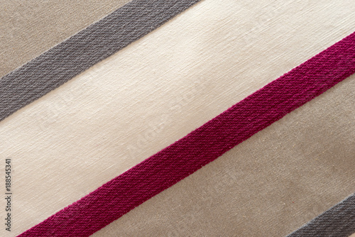 Fototapeta fabric texture background - white, light grey and pink stripes