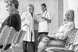 Doctor and patients discussing medical tests