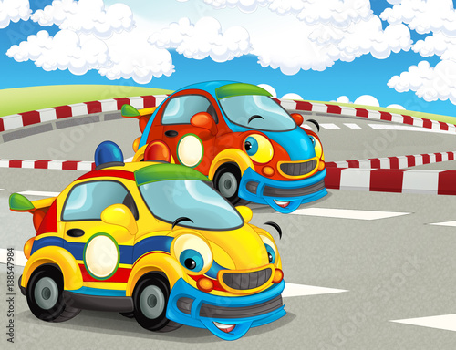 cartoon-funny-and-happy-looking-racing-cars-on-race-track-illustration-for-children