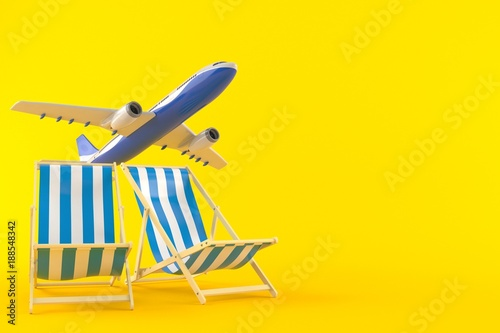 Deck chairs with airplane