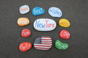 Best Wishes from New York, United States of America with colored stones